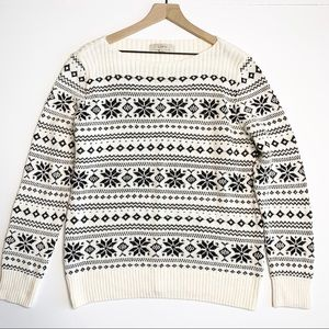 LOFT Snowflake Printed Cream and Black Sweater XL